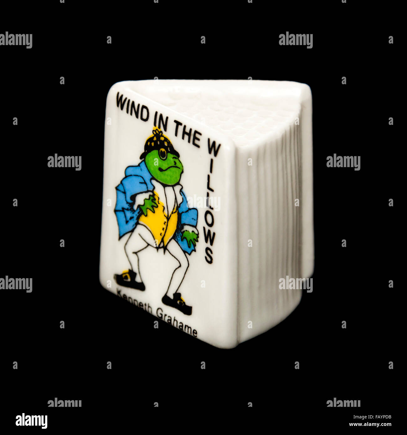 Wind in the Willows themed porcelain thimble by Beechcroft China - Stock Image