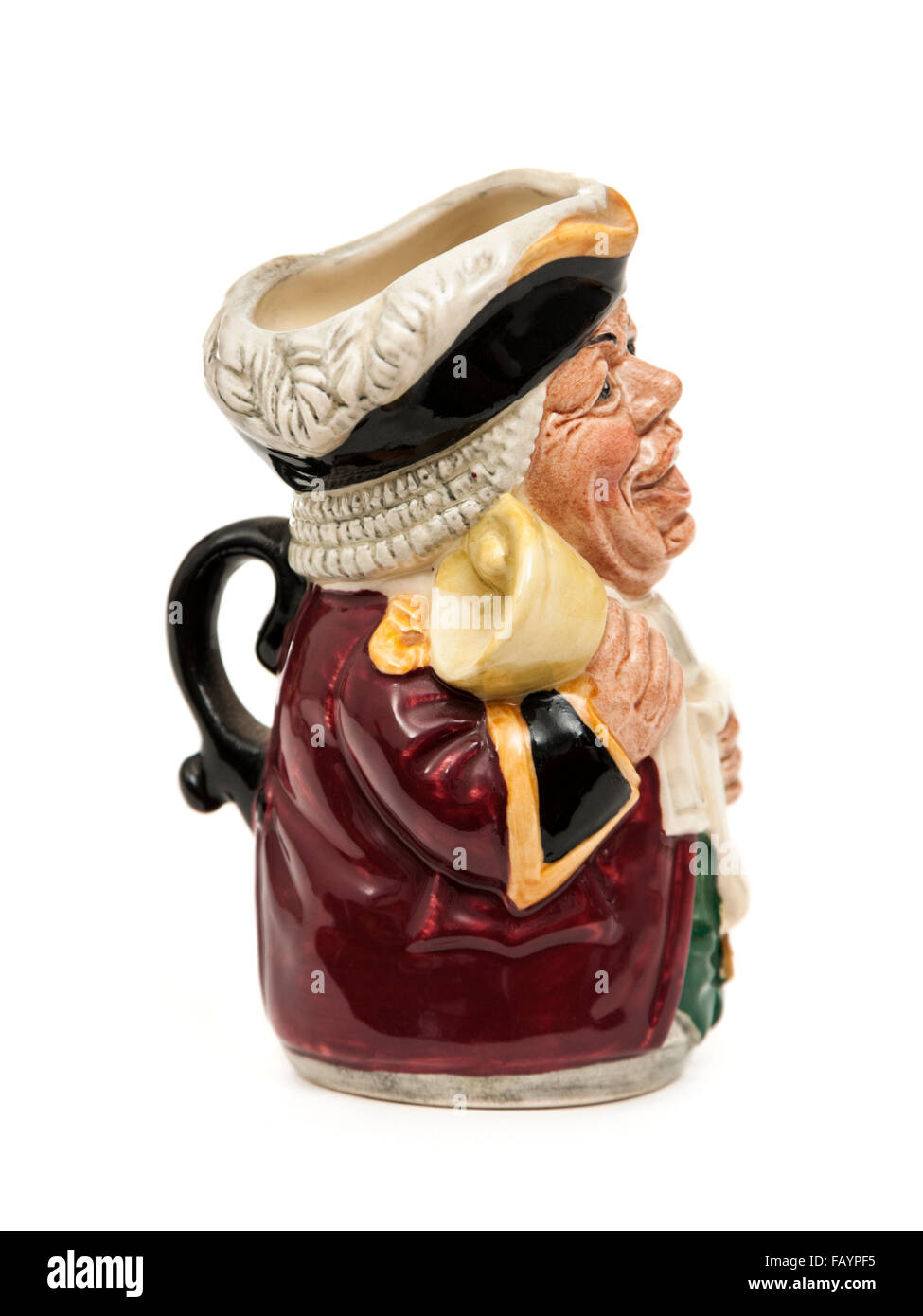 Vintage Toby / character jug (D6713) 'Mr Tonsil, The Town Crier' by Royal Doulton. Designed by William K. - Stock Image