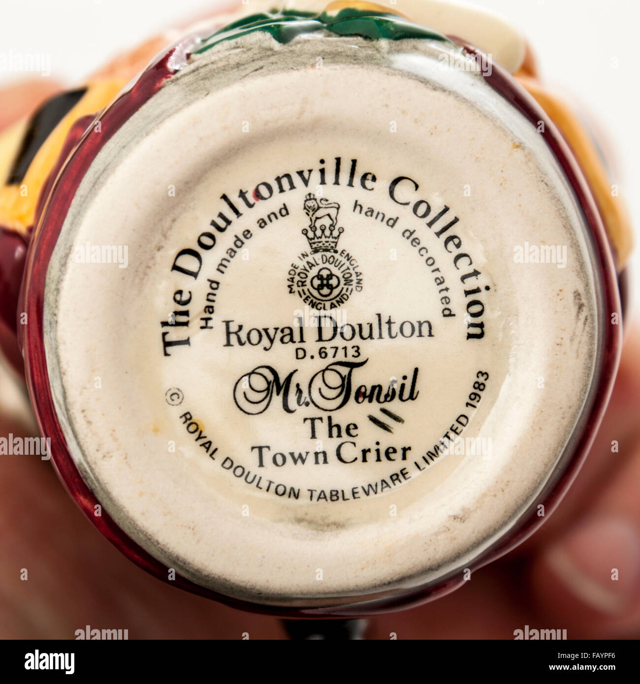 Backstamp of vintage Toby / character jug (D6713) 'Mr Tonsil, The Town Crier' by Royal Doulton. Designed - Stock Image