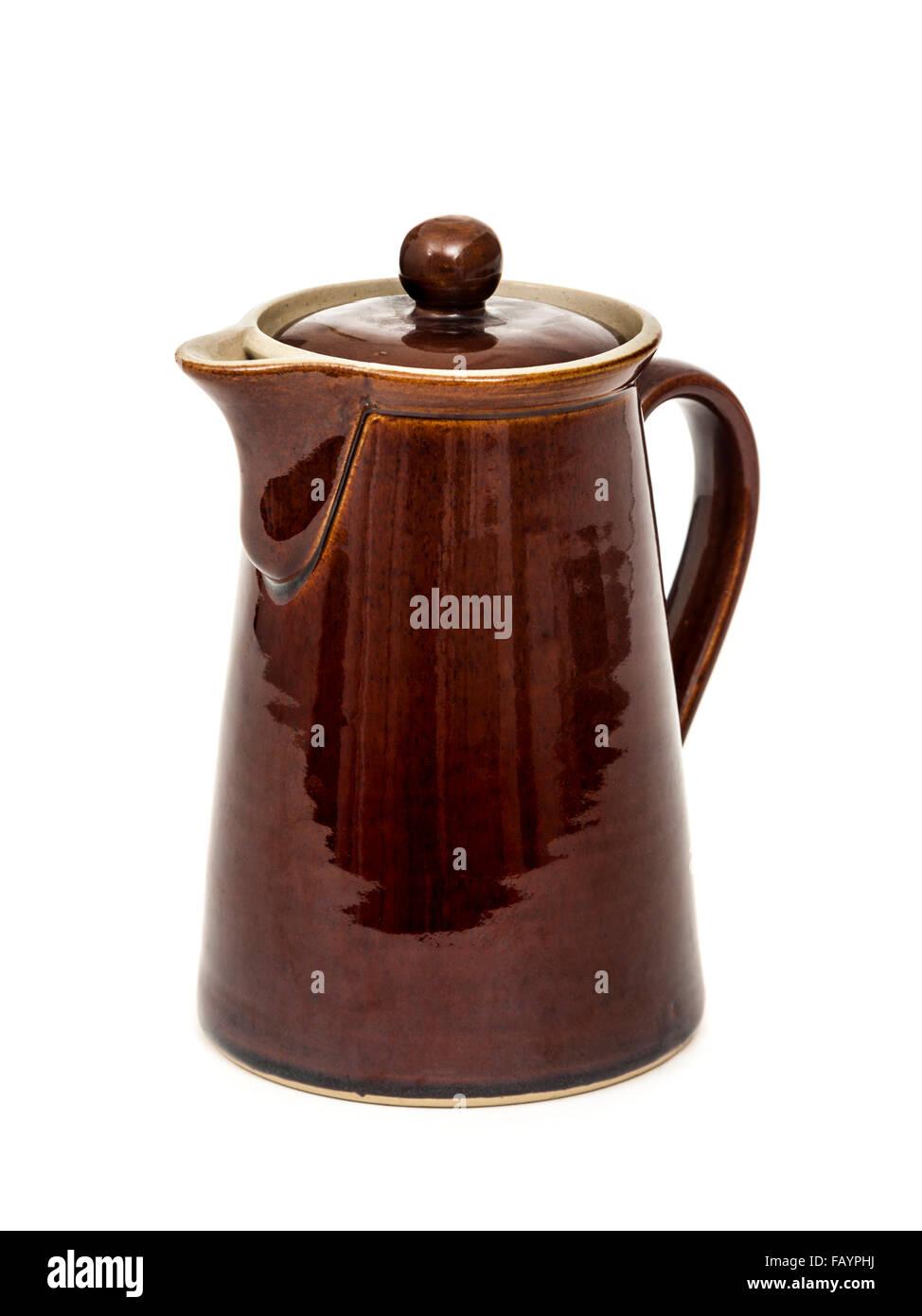 Denby Pottery (Bourne) vintage 1950's brown stoneware glazed 2pt lidded coffee pot - Stock Image