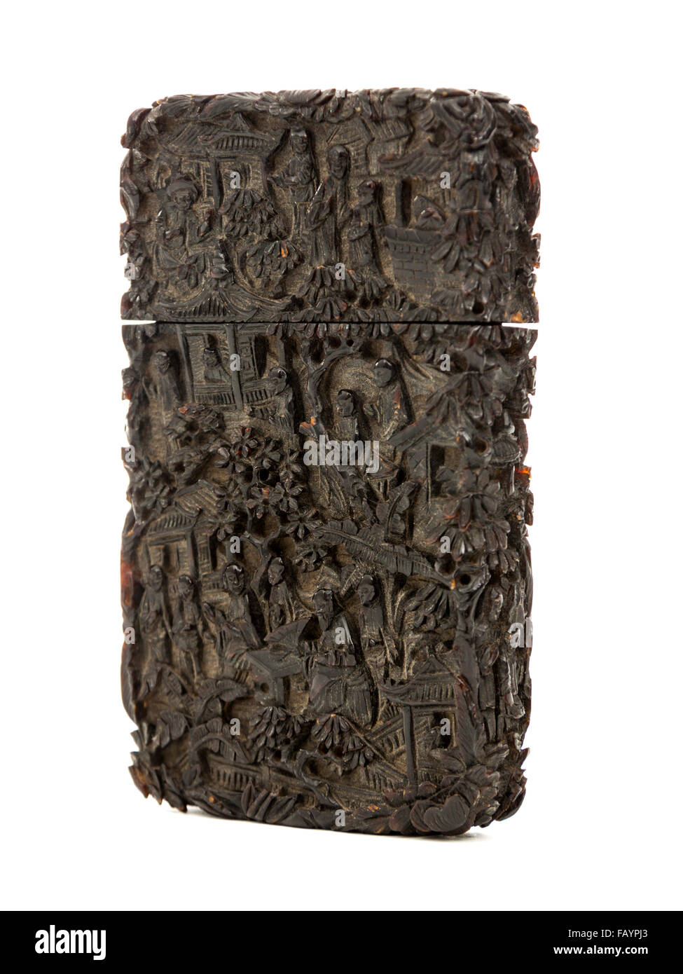 Antique 19th century Chinese or Japanese finely carved tortoise shell case for storing 'calling' or 'visiting' - Stock Image
