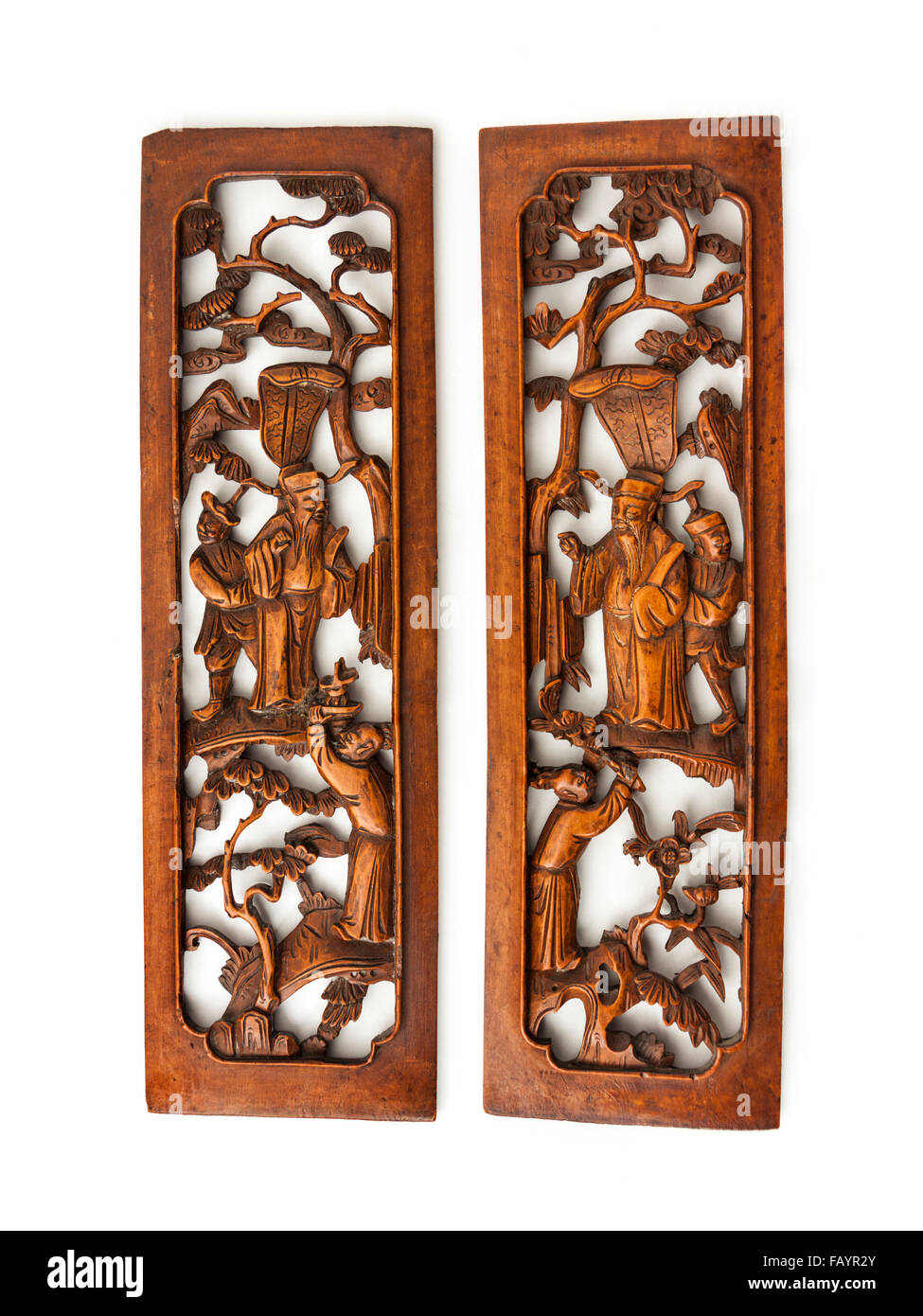 Pair of antique 19th century Japanese or Chinese finely carved wooden wall panels - Stock Image