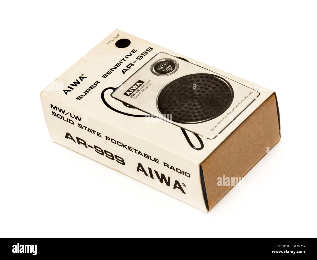 Vintage Aiwa AR-999 Super Sensitive Pocketable Transistor Radio (MW/LW), purchased new from Woolworths (UK) for - Stock Image