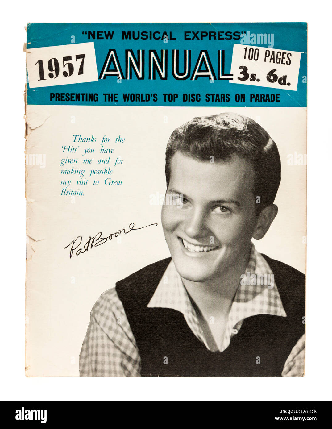 Vintage 1957 copy of the New Musical Express (NME) music magazine annual with Pat Boone on the front cover. Stock Photo