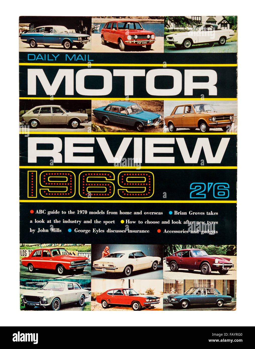 1969 Daily Mail Motor Review magazine, featuring a guide to the 1970 model cars available in the UK - Stock Image