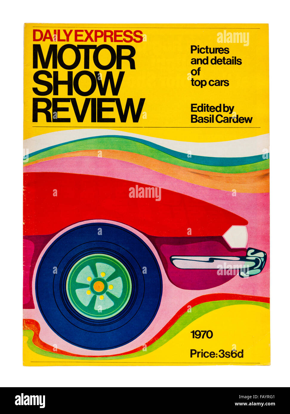 1970 Daily Express Motor Show Review magazine, featuring a guide to the cars available in the UK that year - Stock Image