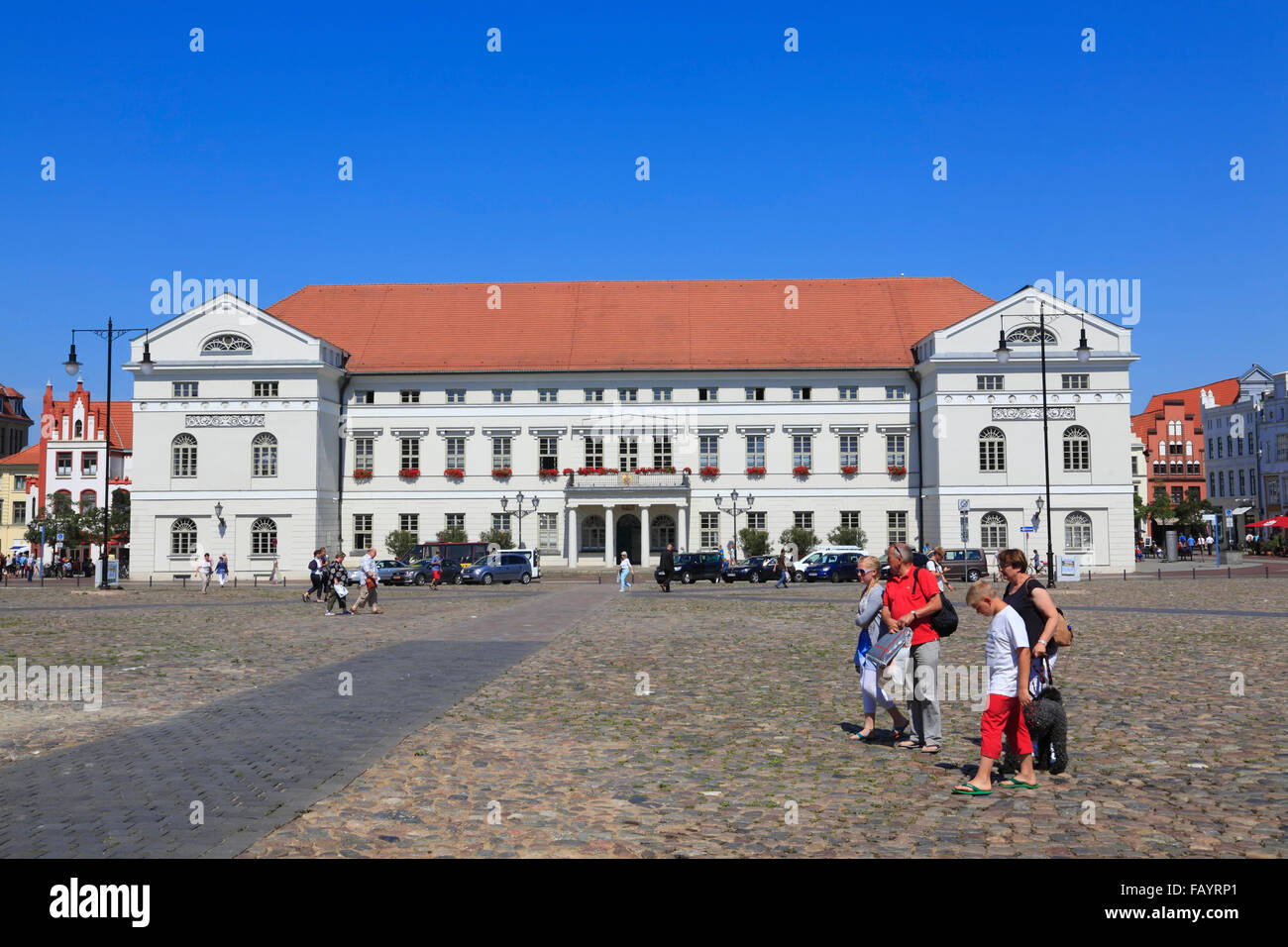 Town hall at market square, Wismar, Baltic Sea, Mecklenburg Western Pomerania, Germany, Europe - Stock Image