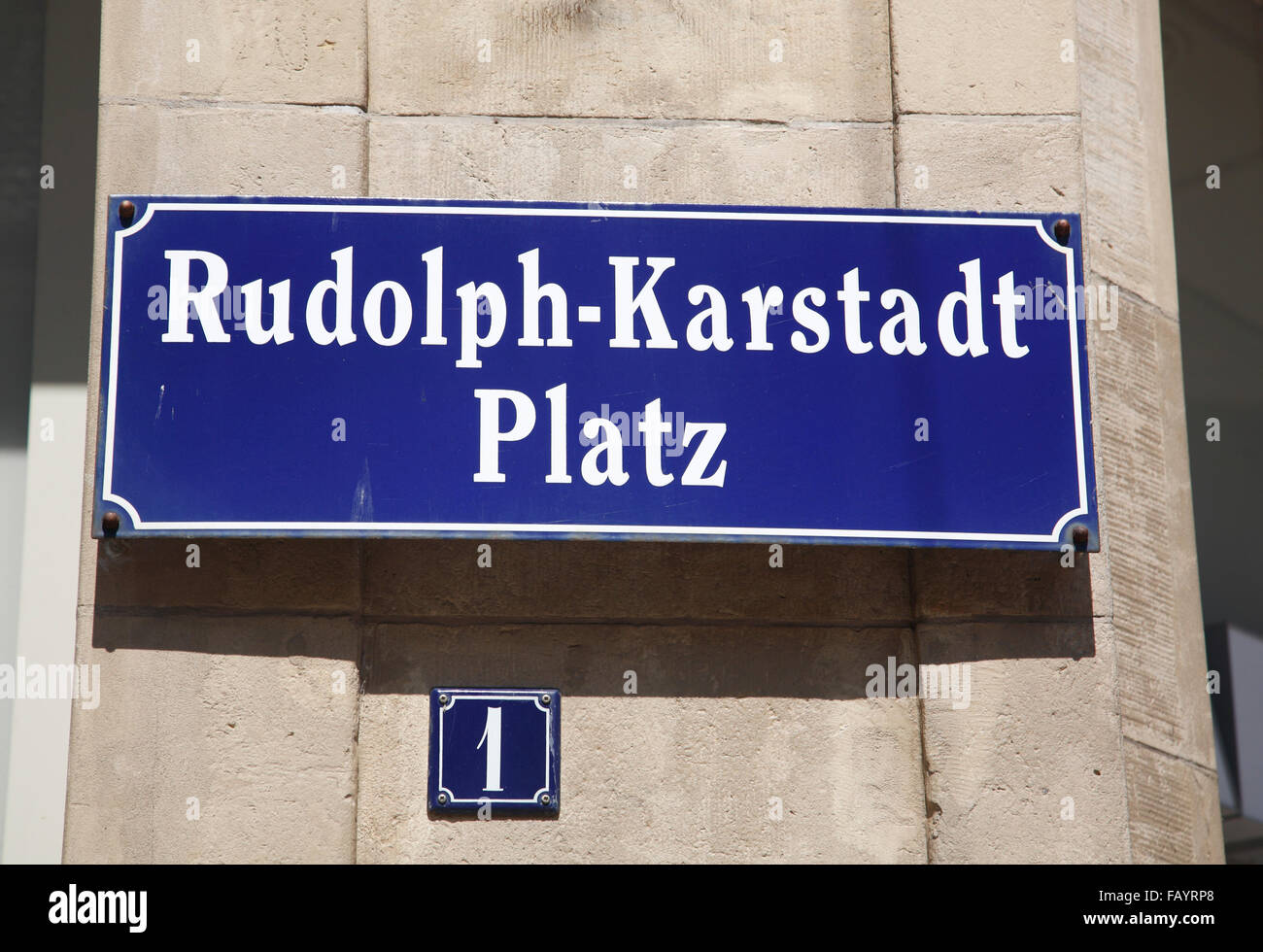 Sign at  Karstadt warehouse, Wismar, Baltic Sea, Mecklenburg Western Pomerania, Germany, Europe - Stock Image