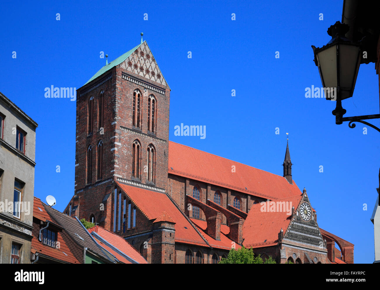 Nikolaikirche, St Nicolas Church, Wismar, Baltic Sea, Mecklenburg Western Pomerania, Germany, Europe - Stock Image