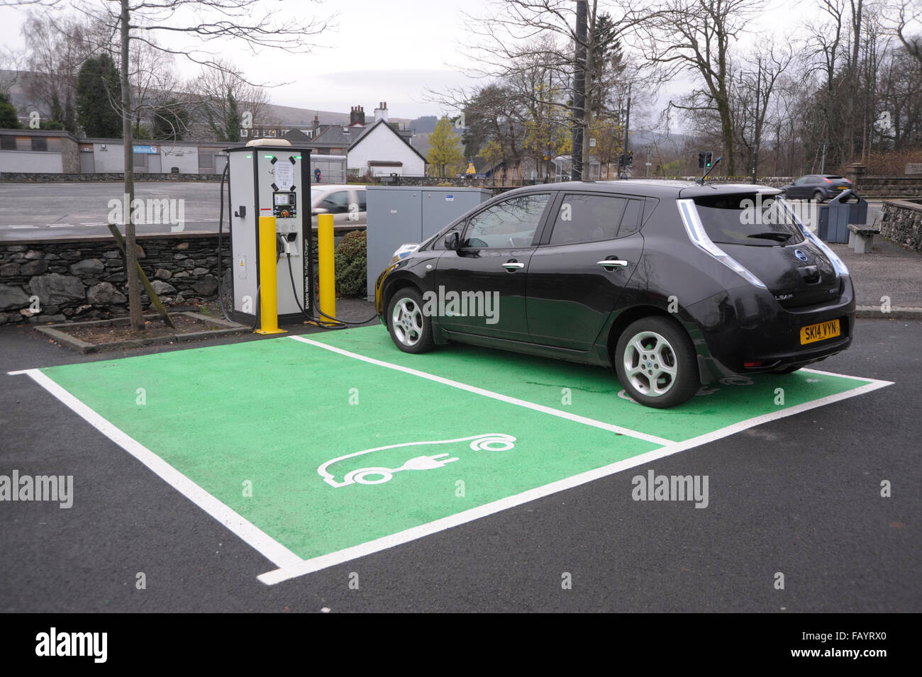 Public electric vehicle charging point. Balloch, Scotland - Stock Image