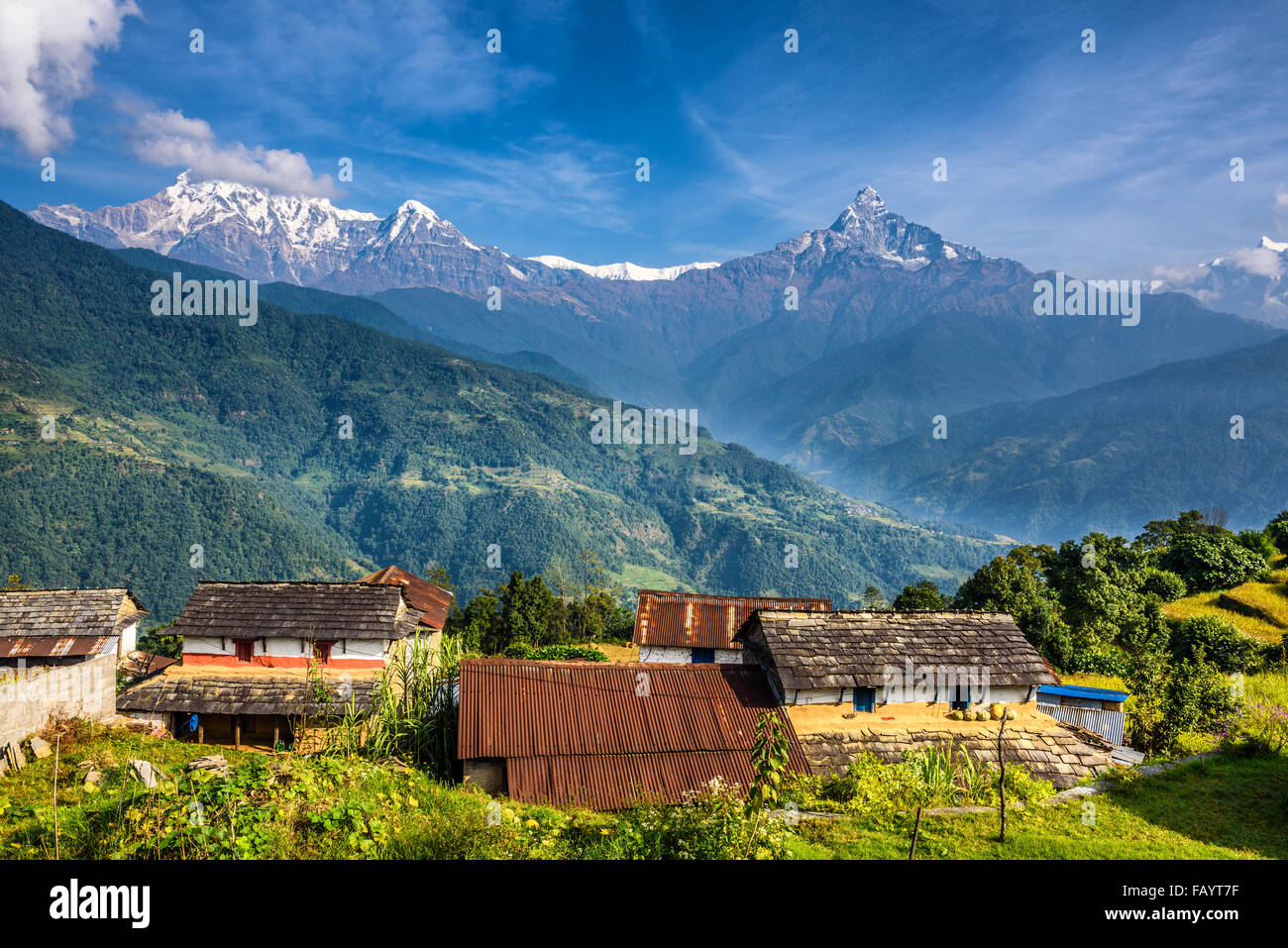 Nepalese village in the Himalaya mountains near Pokhara in Nepal - Stock Image