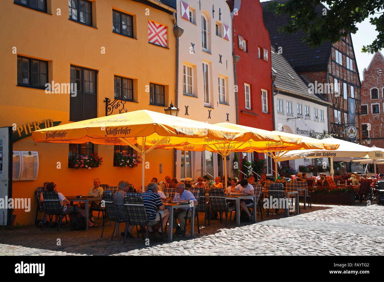 Restaurants at LOHBERG near old harbour, Wismar, Baltic Sea, Mecklenburg Western Pomerania, Germany, Europe - Stock Image