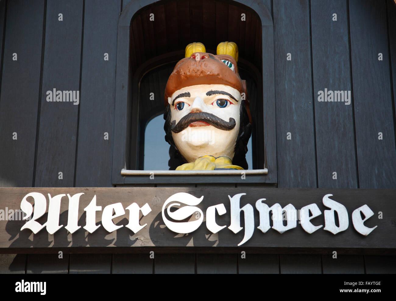 Restaurant ALTER SCHWEDE, Wismar, Baltic Sea, Mecklenburg Western Pomerania, Germany, Europe - Stock Image