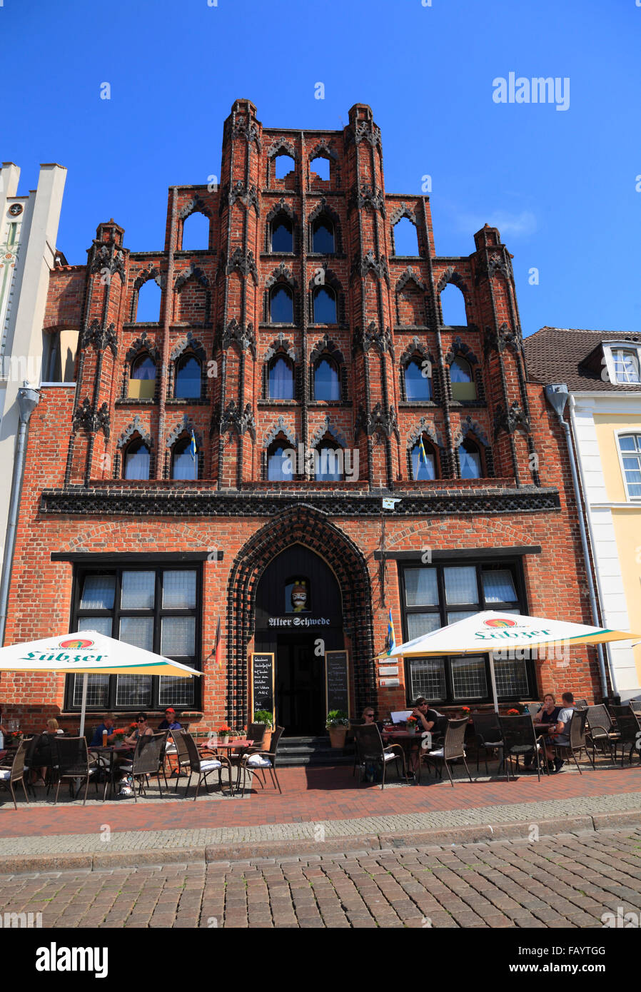 Restaurant ALTER SCHWEDE at market square, Wismar, Baltic Sea, Mecklenburg Western Pomerania, Germany, Europe - Stock Image