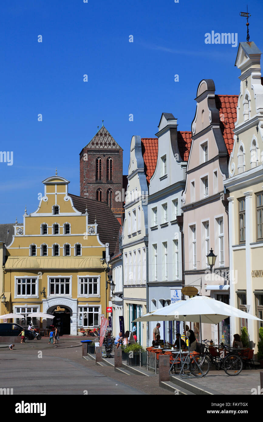Kraemerstrasse, Wismar, Baltic Sea, Mecklenburg Western Pomerania, Germany, Europe - Stock Image