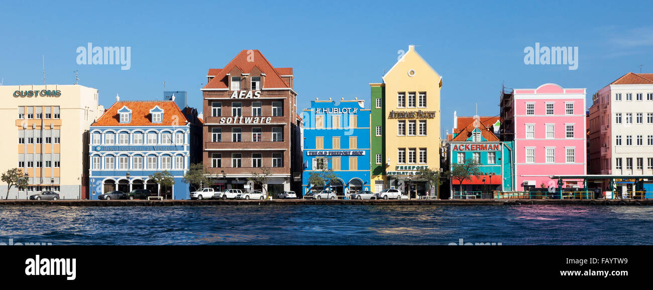 The Colourful Dutch Caribbean Architecture in Willemstad, Curacao - Stock Image