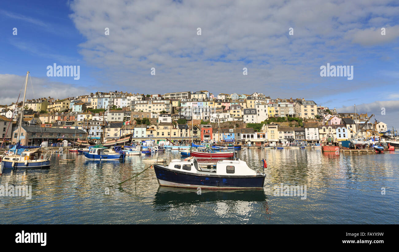 Boats moored in Brixham Harbour, Brixham, Devon, on a glorious summer's day; the town rises in the background Stock Photo