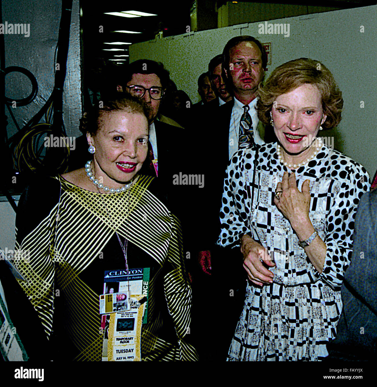 New York, NY., 14th July, 1992 Former FIrst Lady Rosalynn Carter (R) is escorted to the front stage at the Democratic Stock Photo