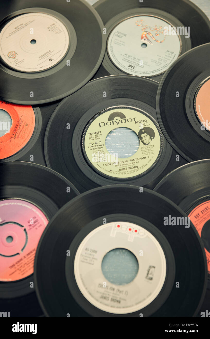 A collection of funk and soul music vinyl records (singles) from the 1970s Stock Photo