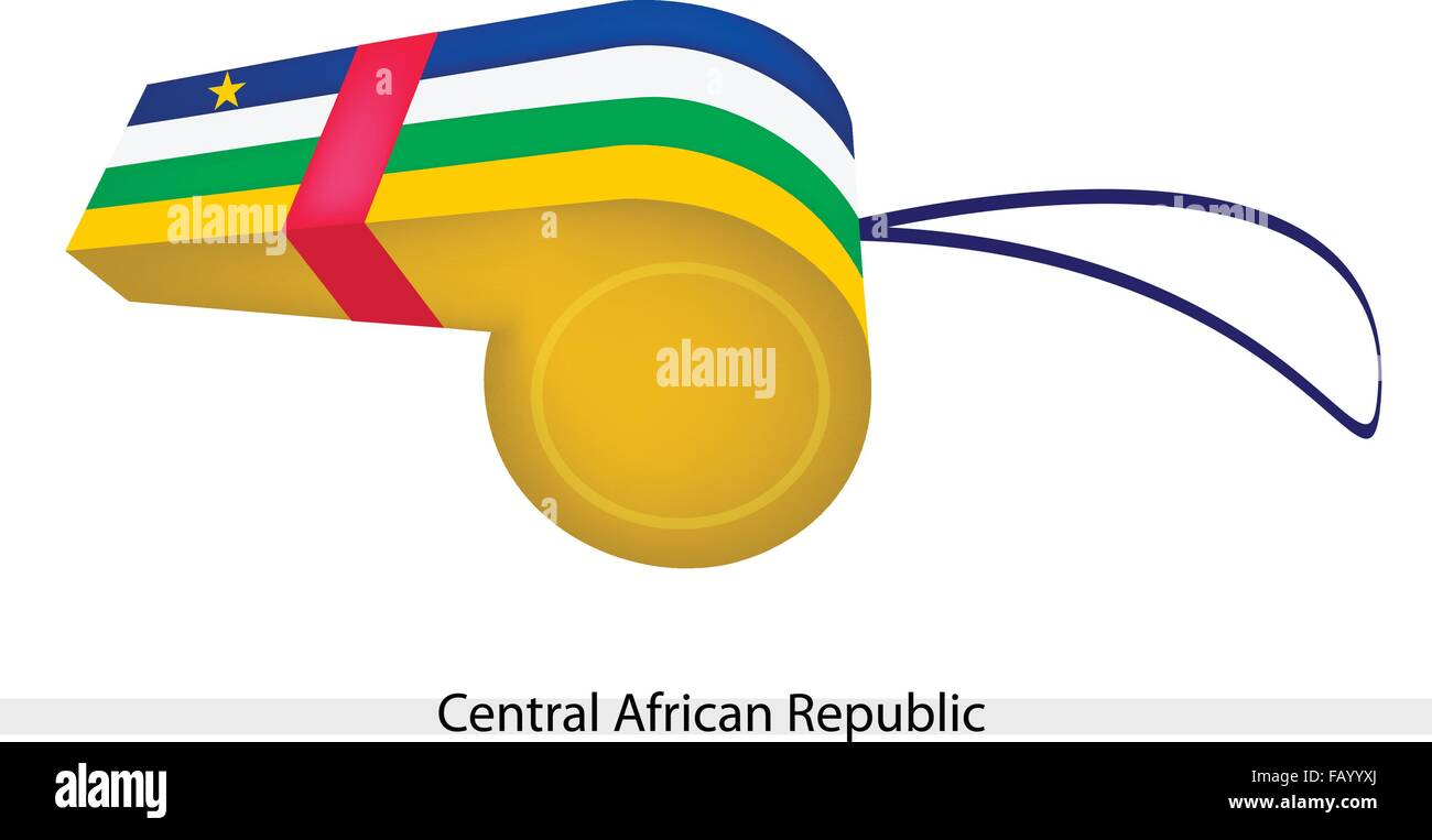 Blue, White, Green and Yellow Bands with A Yellow Five-Point Star of The Central African Republic Flag on A Whistle, - Stock Image
