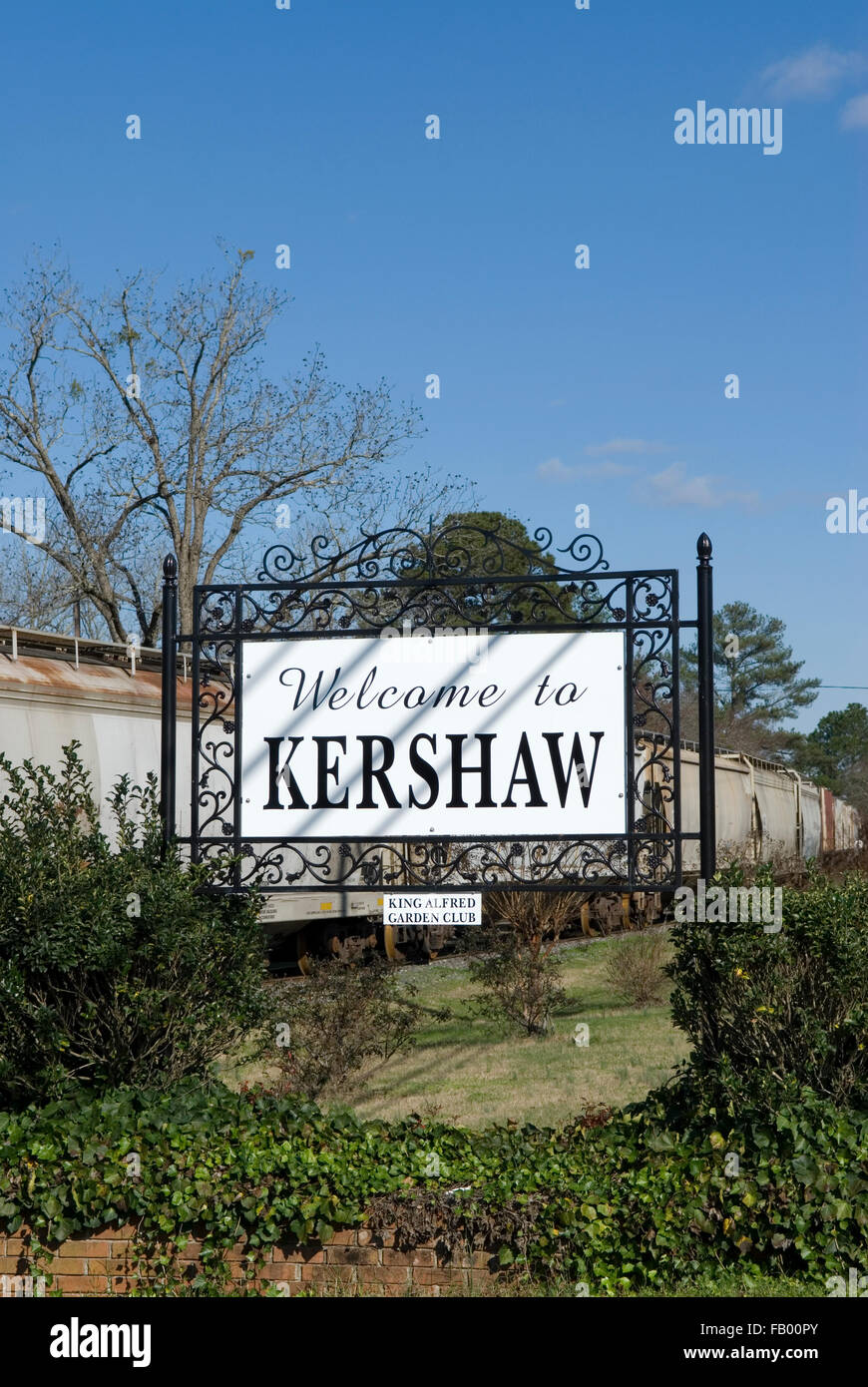 Welcome to Kershaw sign South Carolina USA - Stock Image