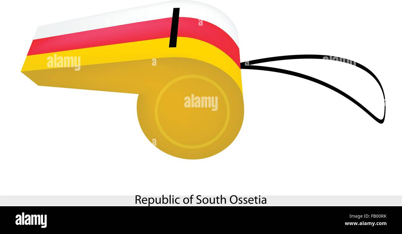 An Illustration of A Horizontal Tricolor of White, Red and Yellow Bands of The Republic of South Ossetia Flag on - Stock Image