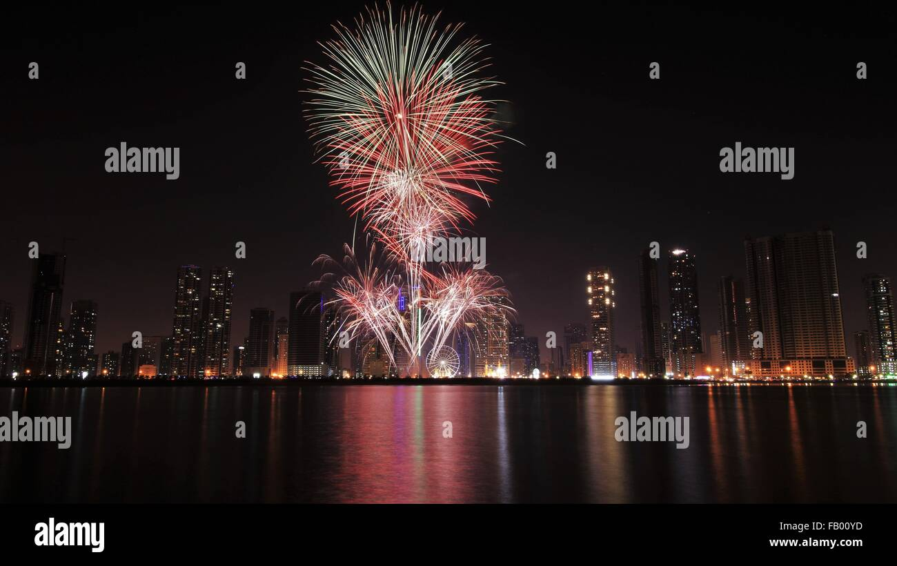 Fire works of UAE National Day Stock Photo
