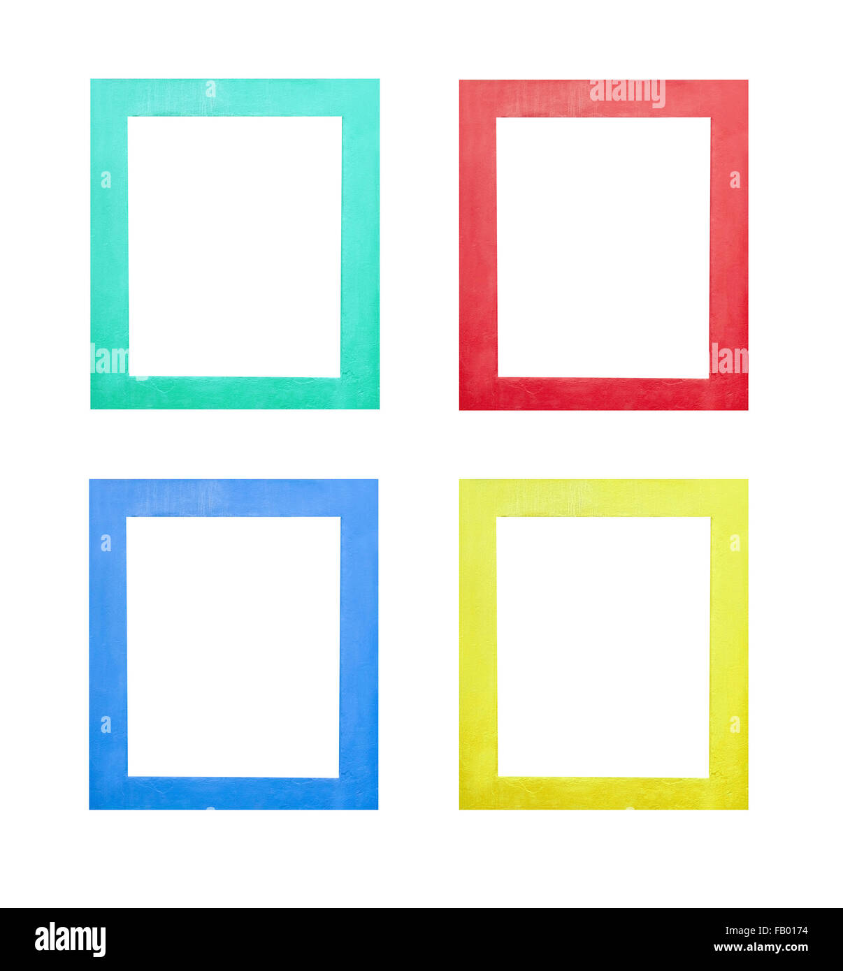 Set Of Window Frames In Green Red Blue And Yellow Isolated On