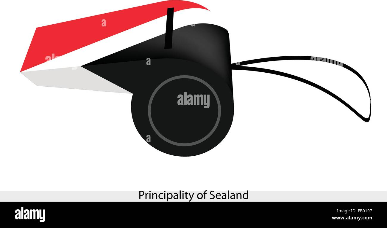 An Illustration of Red, White and Black Bands of The Principality of Sealand Flag on A Whistle, The Sport Concept - Stock Vector