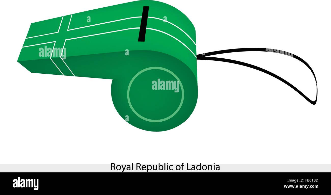 An Illustration of White-Fimbriated Green Cross on A Green Field of The Royal Republic of Ladonia Flag on A Whistle, - Stock Vector