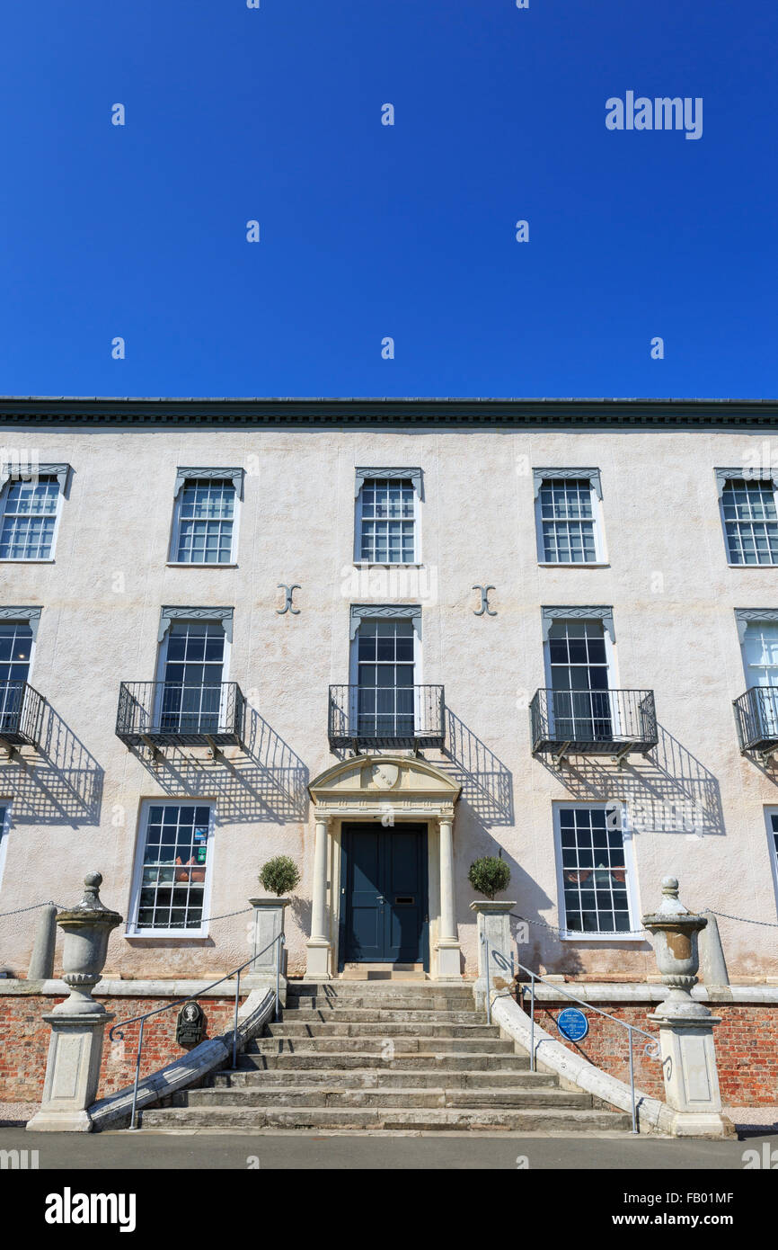 The facade of the fine country home of Torre Abbey Historic House and Gardens, Torquay, Devon, on a glorious summer's - Stock Image