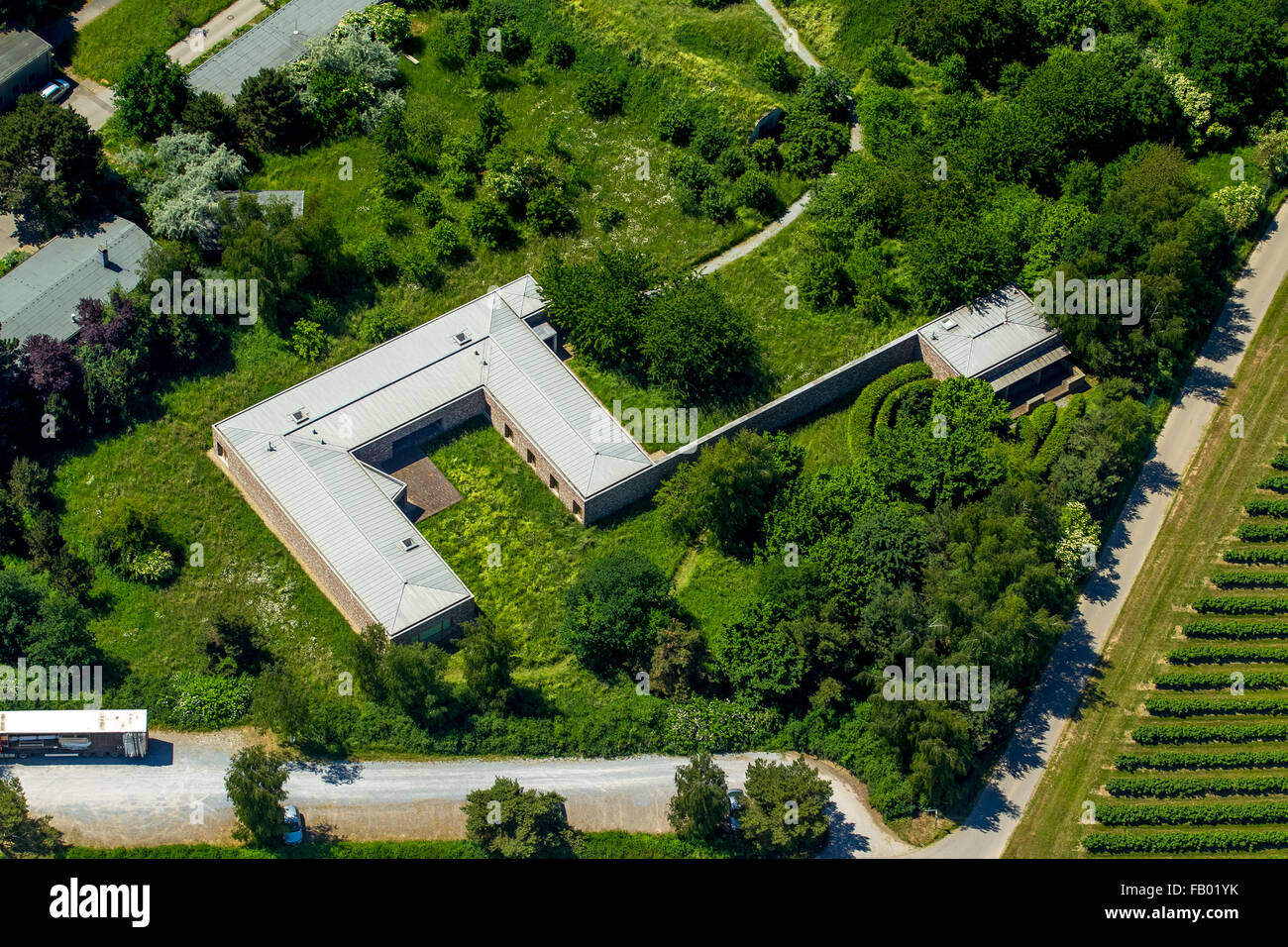 aerial view, project by Karl-Heinrich Müller, art collector, Langen Foundation, former NATO base in the midst - Stock Image