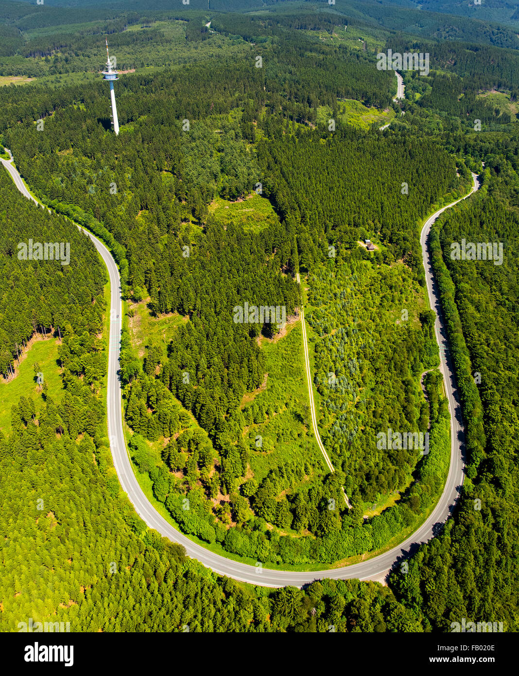 Aerial view, winding road. tight curve, dangerous curve, motorcycle track, accident black spot road from Hirschberg - Stock Image