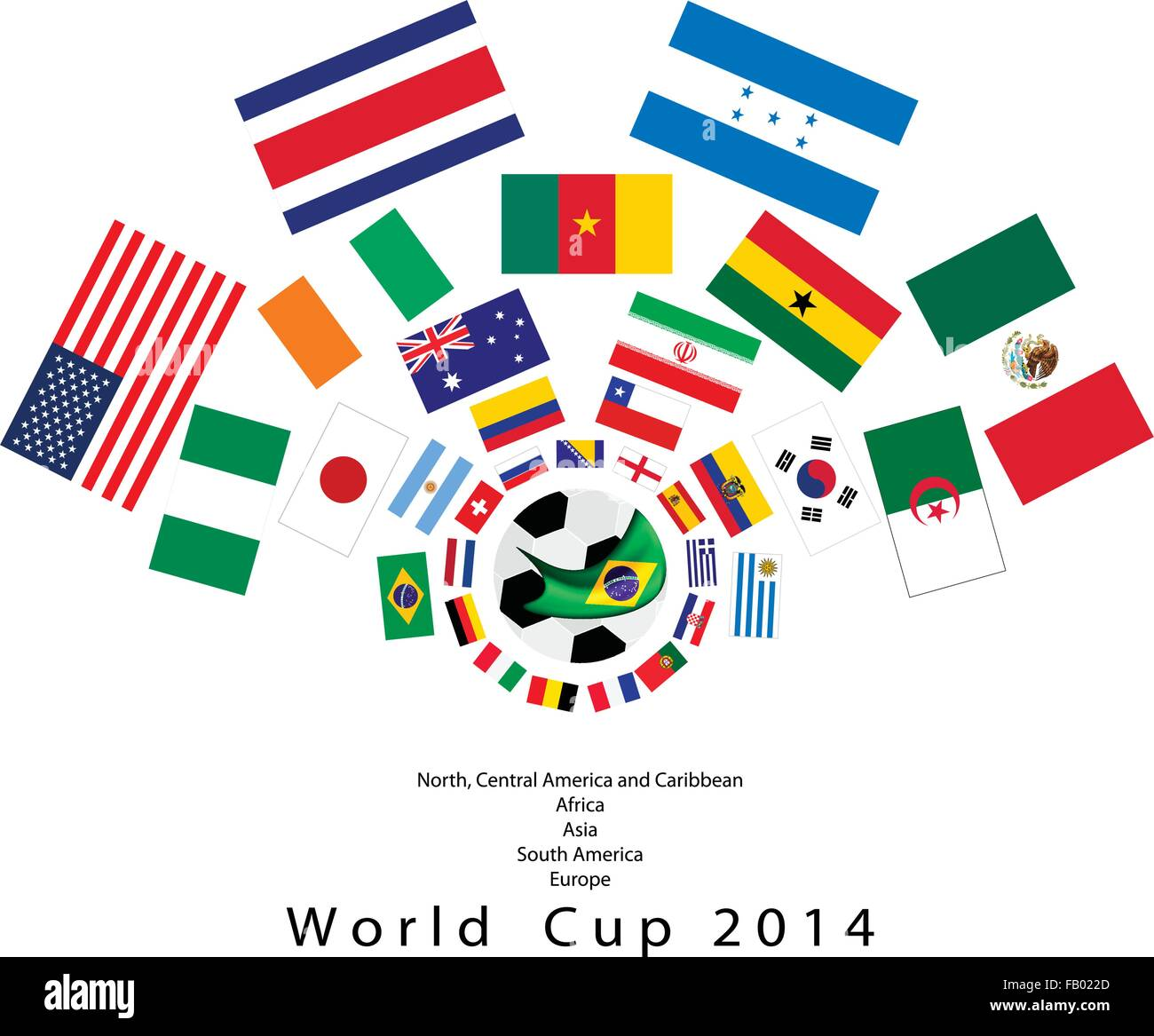 Brazil 2014, An Illustration of The Flags of 32 Teams Around A Soccer Ball of of Football World Cup in Brazil. - Stock Vector