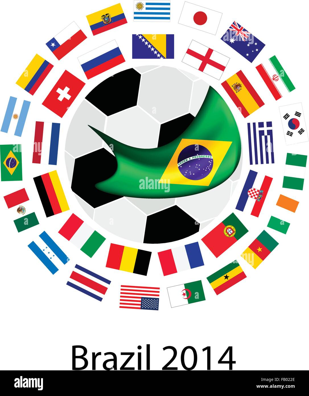 Brazil 2014, An Illustration of The Flags of 32 Nations Around A Soccer Ball of of Football World Cup in Brazil. - Stock Vector