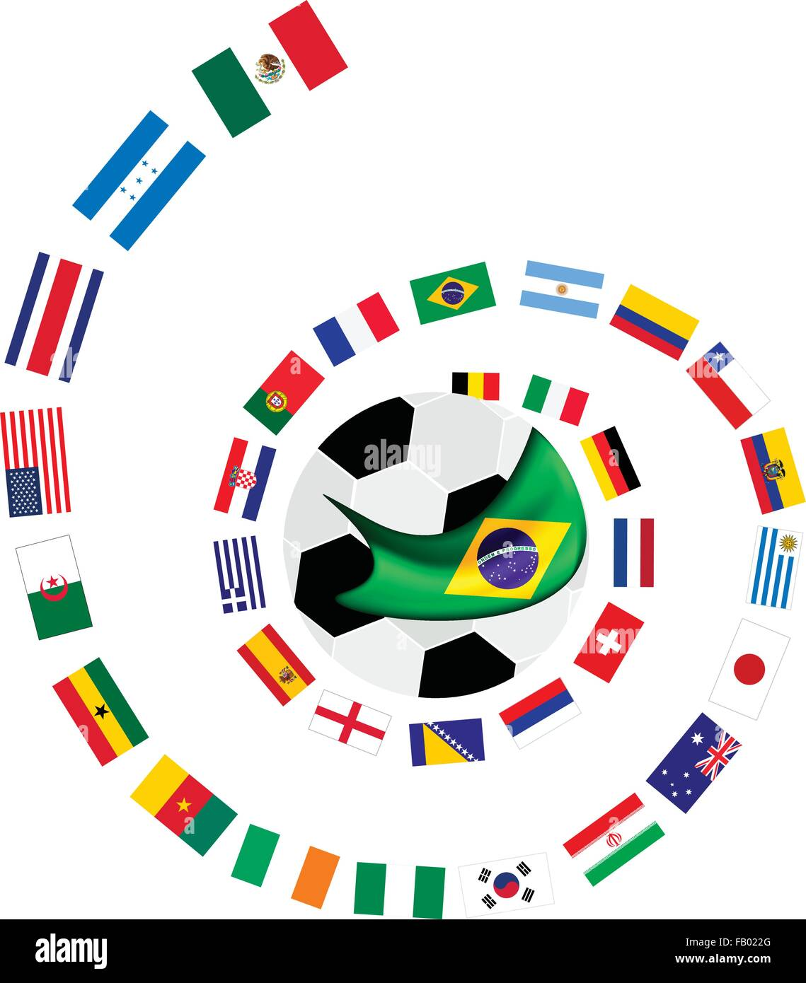 Brazil 2014, An Illustration of The Flags of 32 Countries Around A Soccer Ball of of Football World Cup in Brazil. Stock Vector