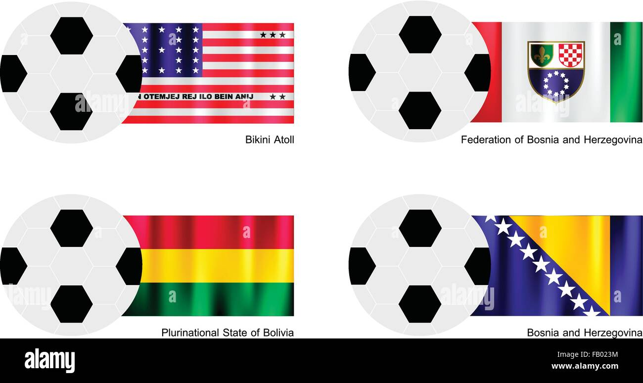 An Illustration of Soccer Balls or Footballs with Flags of Bikini Atoll, Federation of Bosnia and Herzegovina, Plurinational Stock Vector