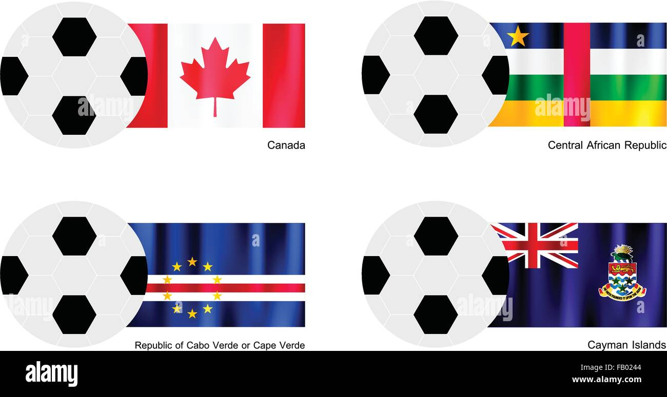 An Illustration of Soccer Balls or Footballs with Flags of Canada, Central African Republic, Republic of Cabo Verde - Stock Image