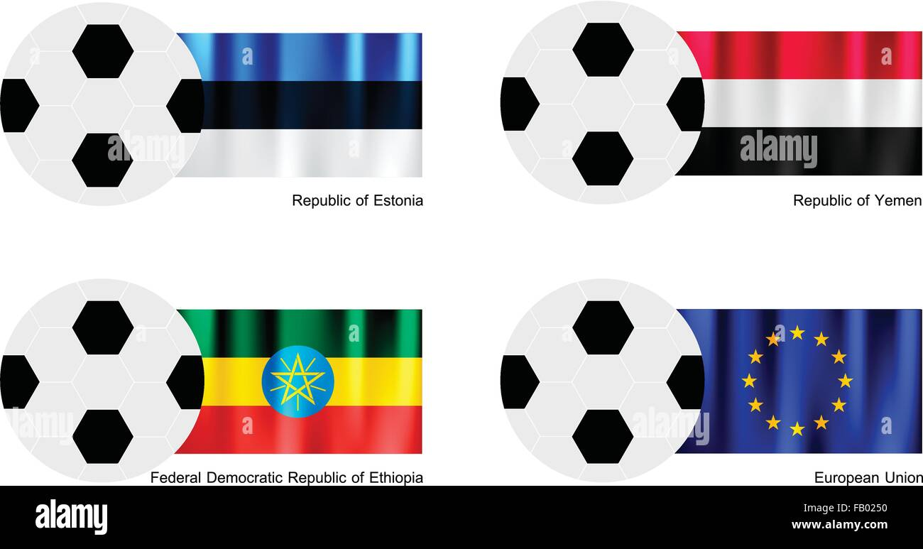 An Illustration of Soccer Balls or Footballs with Flags of Estonia, Yemen, Ethiopia and European Union on Isolated - Stock Vector