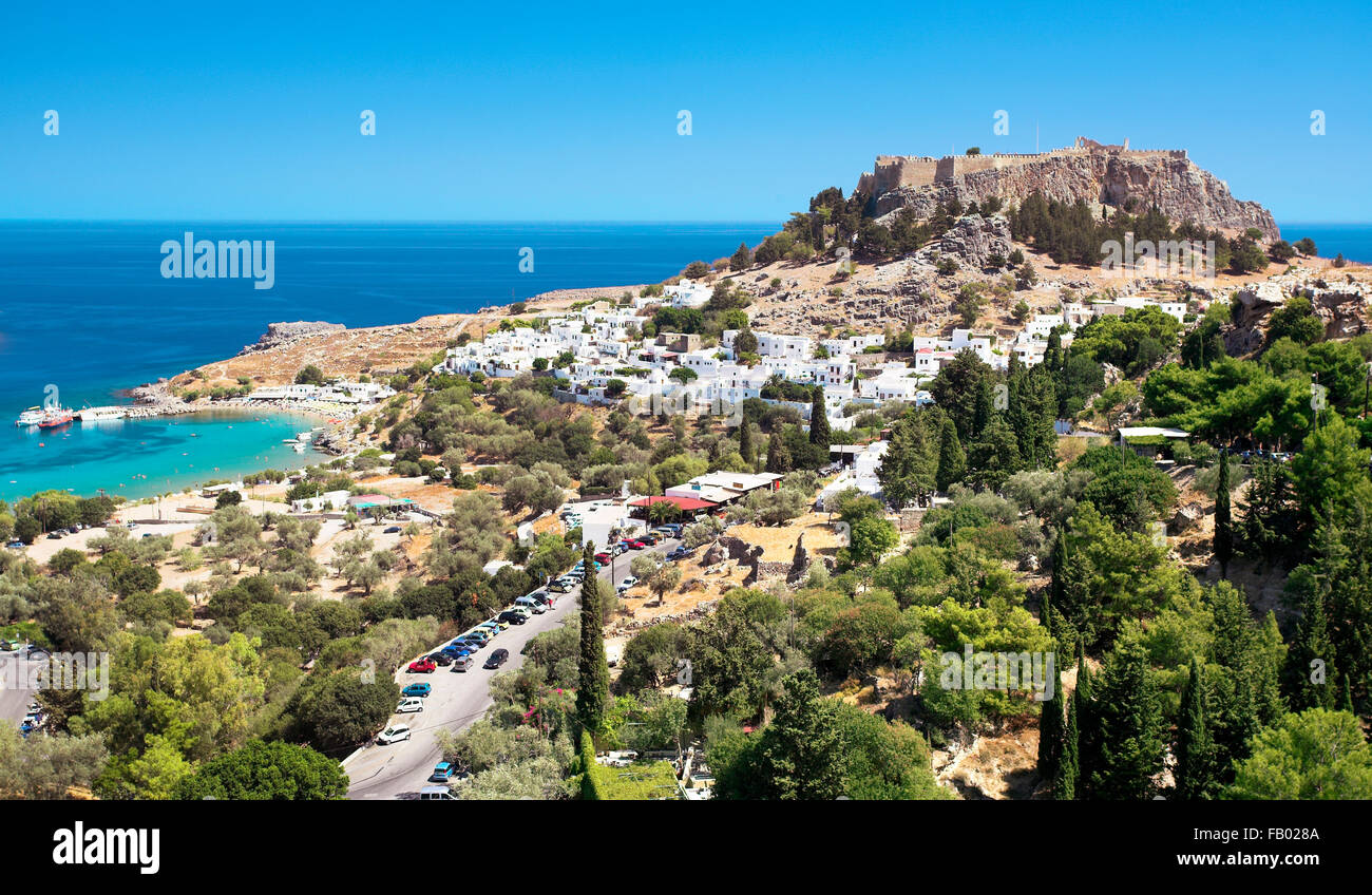 Lindos and the Acropolis, Rhodes, Greek Dodecanese Island - Stock Image