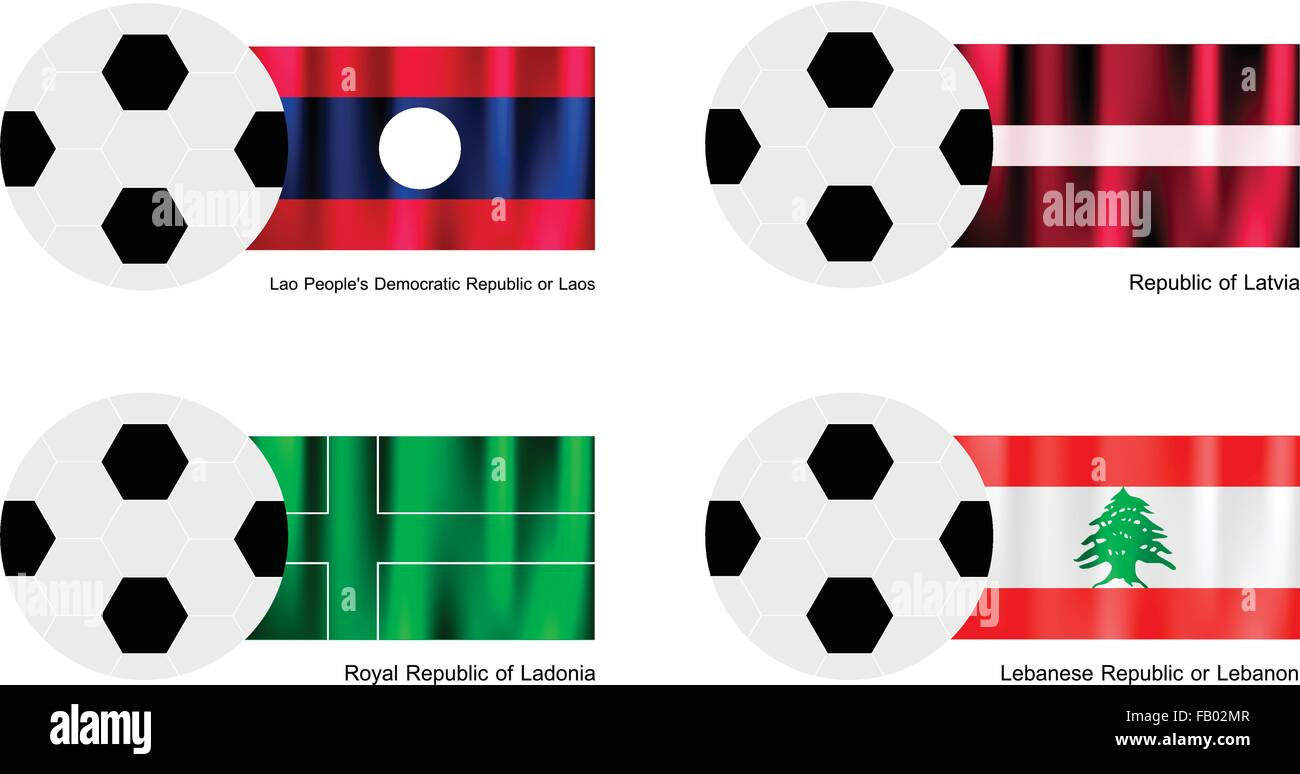 An Illustration of Soccer Balls or Footballs with Flags of Laos, Latvia, Ladonia and Lebanon on Isolated on A White - Stock Vector