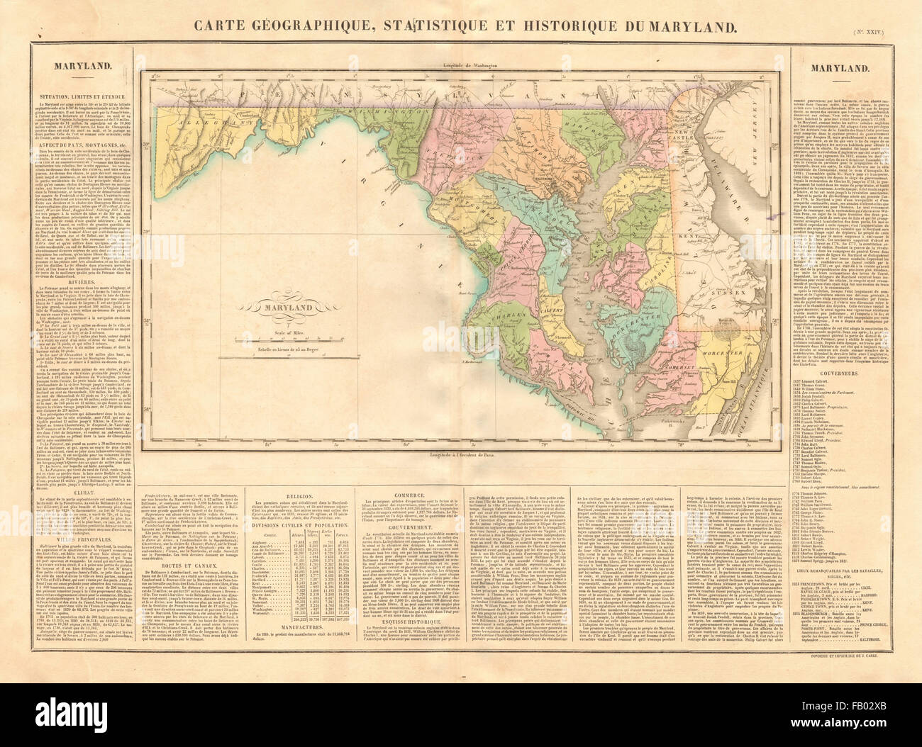 Maryland antique state map. Counties. BUCHON, 1825 Stock Photo ...