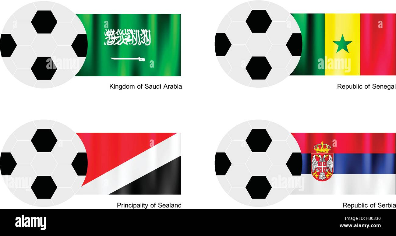 An Illustration of Soccer Balls or Footballs with Flags of Saudi Arabia, Senegal, Principality of Sealand and Serbia - Stock Vector