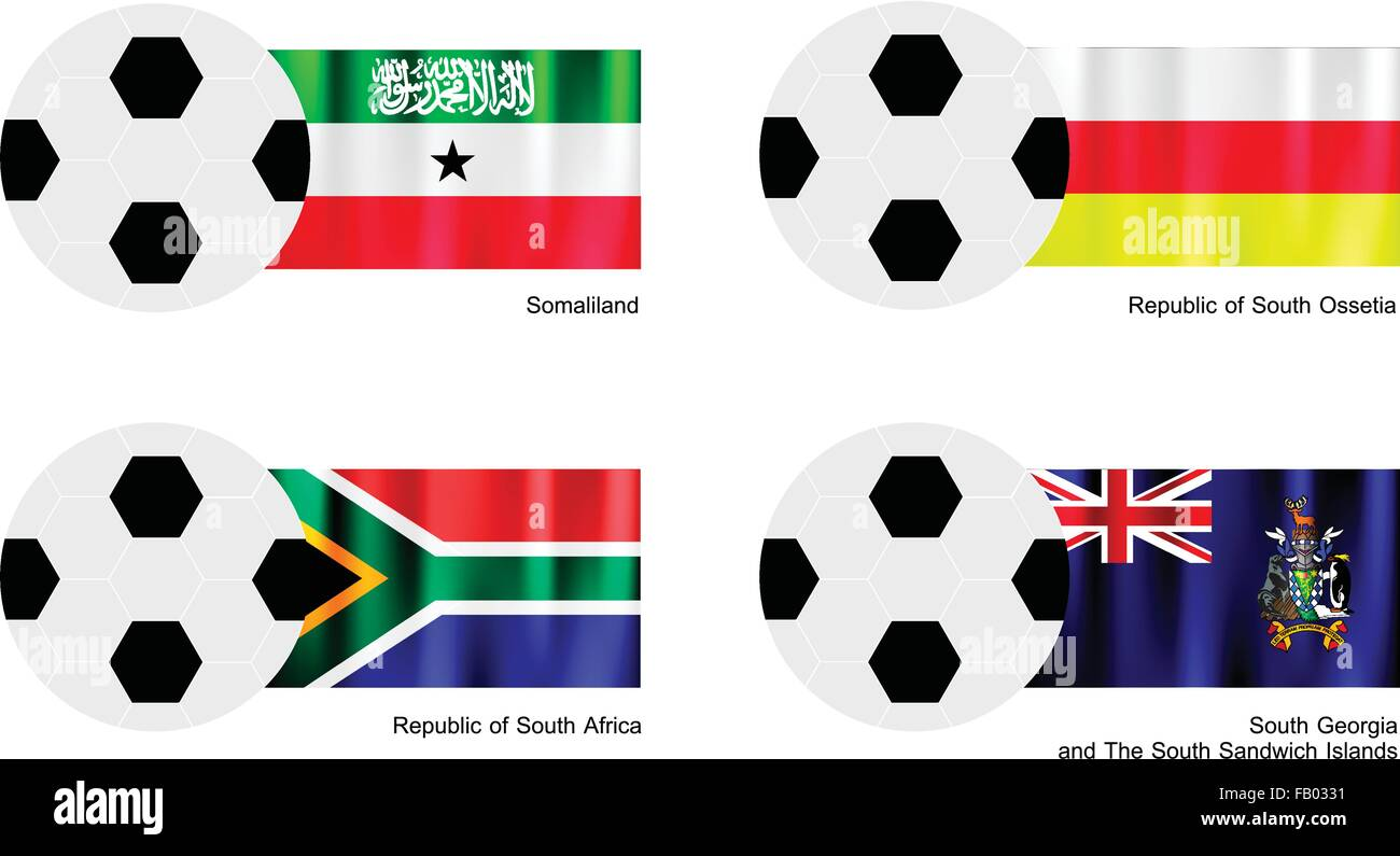 An Illustration of Soccer Balls or Footballs with Flags of Somaliland, South Ossetia, South Africa and South Georgia - Stock Image