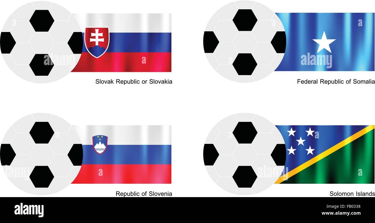 An Illustration of Soccer Balls or Footballs with Flags of Slovak Republic or Slovakia, Somalia, Slovenia and Solomon Stock Vector
