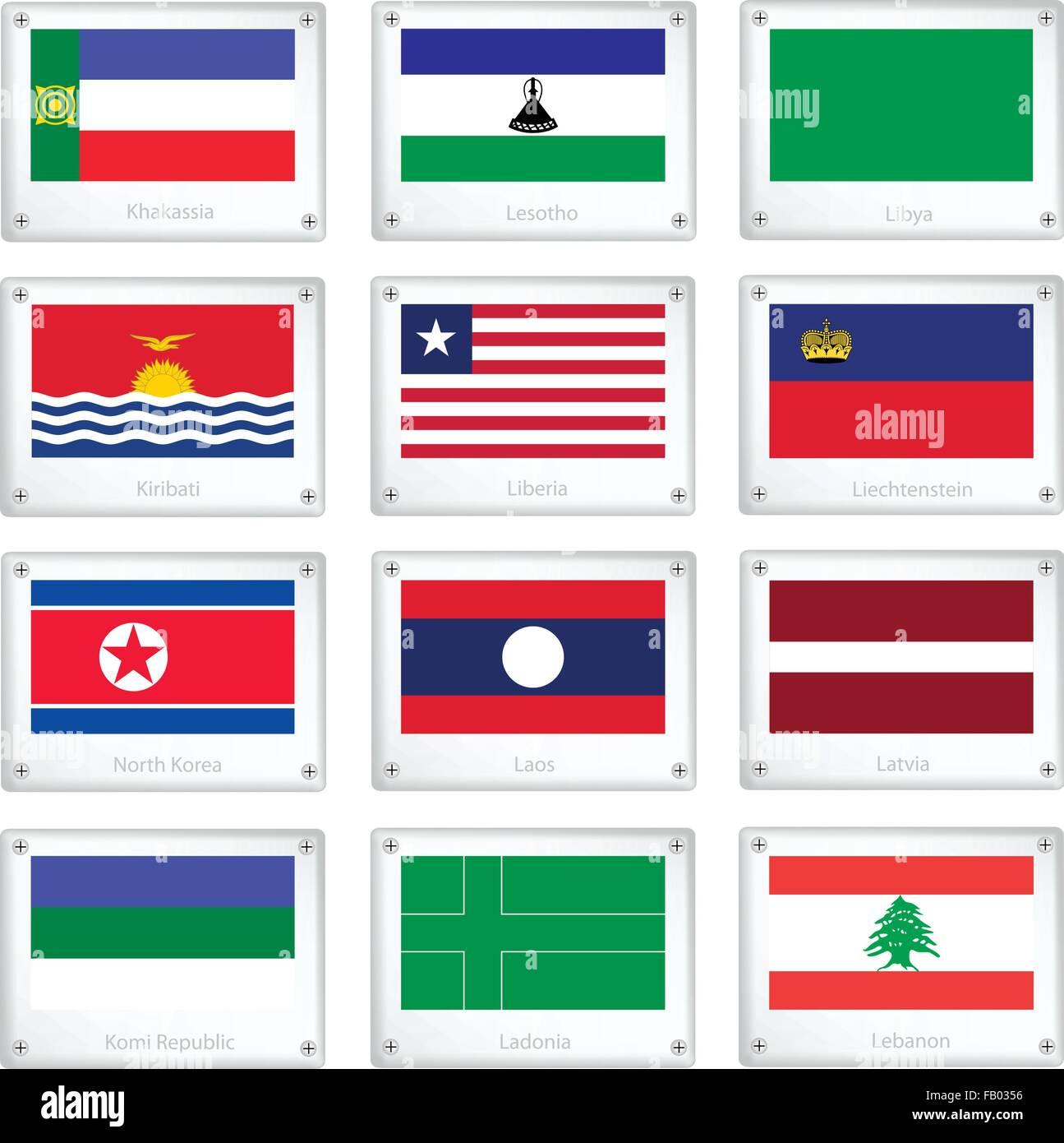National Flags of Khakassia, Lesotho, Libya, Kiribati, Liberia, Liechtenstein, North Korea, Laos, Latvia, Komi Republic, - Stock Vector