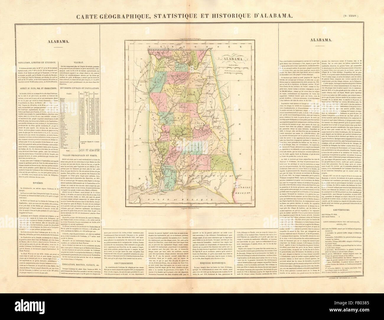 Alabama antique state map. Counties. Indian frontier & villages ...
