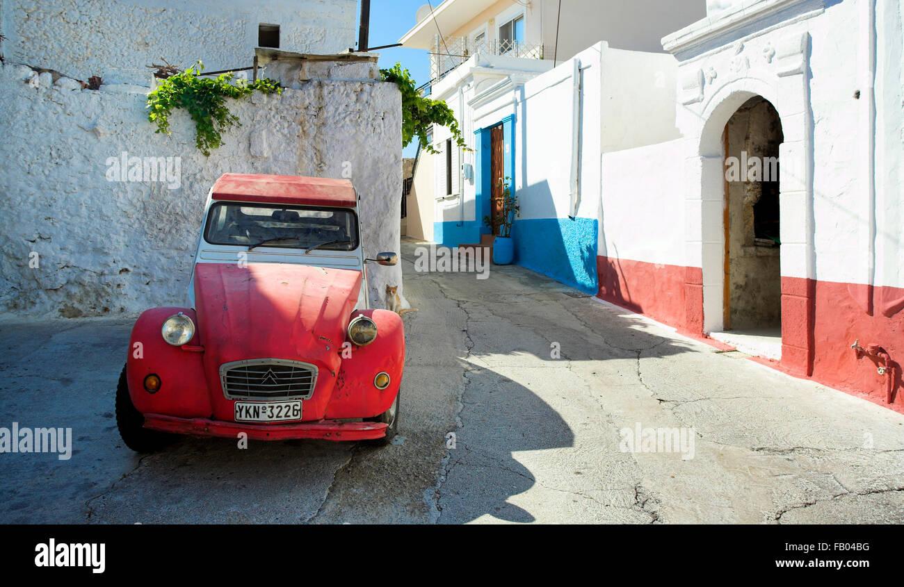 Old Citroen car at village Koskinou, Rhodes Island, Greece - Stock Image