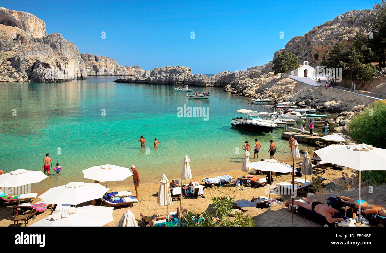 The Harbour of the Apostle Paulus near Lindos (St. Paul's Bay), Rhodes Island, Greece - Stock Image