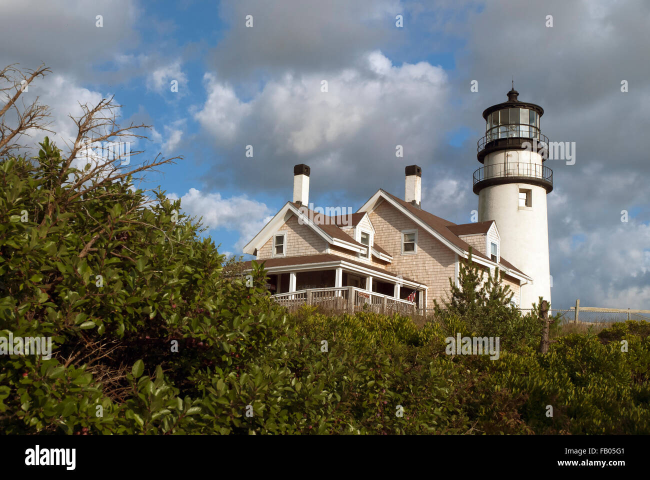Cape Cod lighthouse is one of the first and oldest lighthouses on the Cape. It is located on the Cape Cod National - Stock Image